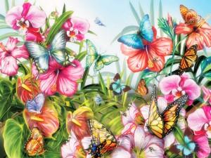 Mariposas multicolores polinizando flores en un prado