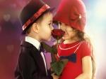 Pareja de niños oliendo el perfume de una rosa
