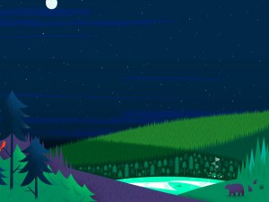 Osos caminando por el bosque en una noche de luna llena