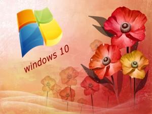 Logo de Windows 10 en una imagen floral