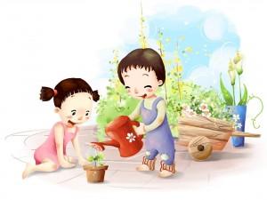 Niños felices regando una planta
