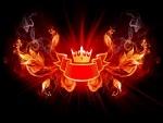 Corona con fuego y humo