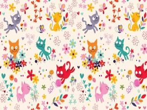 Imagen con gatitos y flores