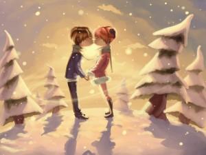 Beso romántico en un bosque nevado