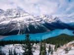 Invierno en el lago Peyto (Alberta, Canadá)