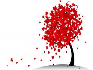 Árbol con hojas rojas en forma de corazón