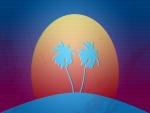 El sol detrás de dos palmeras