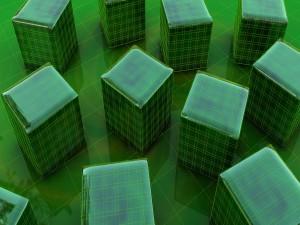 Cubos verdes en 3D