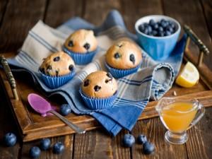 Muffins de arándanos frescos