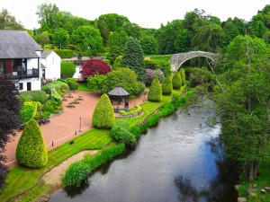 Casa junto a un canal con frondosas plantas
