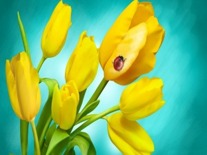 Mariquita caminando en un tulipán amarillo