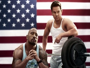 "Mark Wahlberg y Dwayne Johnson en ""Pain & Gain"""