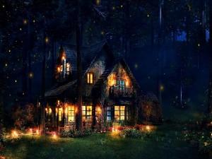 Bella casa iluminada