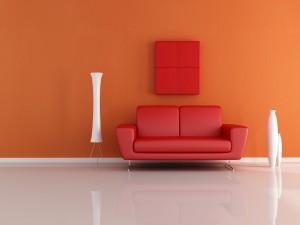 Un sofá rojo