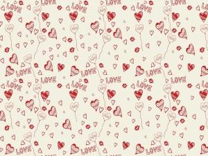 Imagen con corazones y palabras de amor