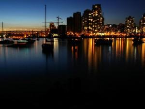 Ciudad de Vancouver en la noche