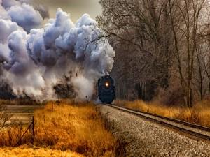 Tren a vapor en otoño