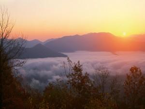 Salida del sol sobre la niebla