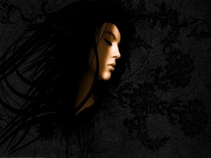 Rostro de mujer en las sombras