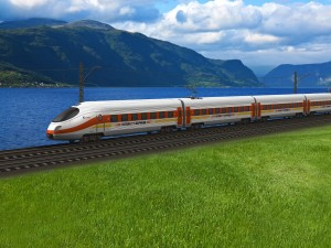 Tren de alta velocidad pasando a orillas del lago