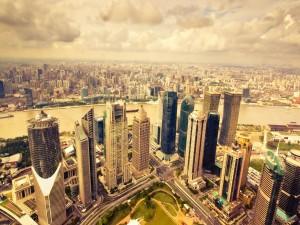 Rascacielos en una gran ciudad