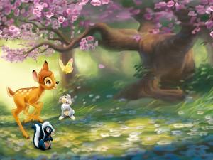 Bambi jugando con Flor y Tambor en el bosque