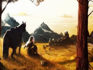 Chica sentada junto a su caballo