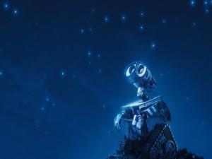 Walle-E contemplando las estrellas