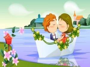 Pareja de enamorados paseando en un bote