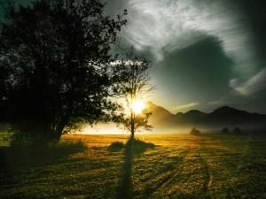 Colinas iluminadas por el sol de la mañana