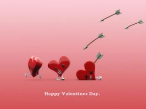 Flechas de amor alcanzando a los corazones en el Día de San Valentín