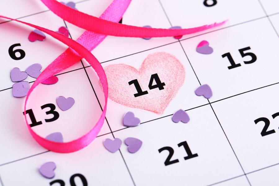 14 de febrero señalado en el calendario con un corazón