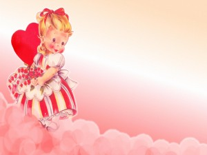 Niña enamorada en San Valentín
