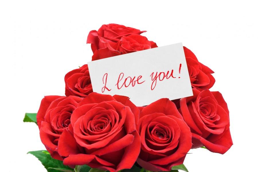 ¡Te quiero! en un ramo de rosas