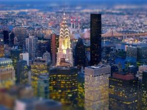 Edificios iluminados de Nueva York
