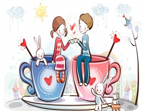 Pareja de enamorados celebrando San Valentín