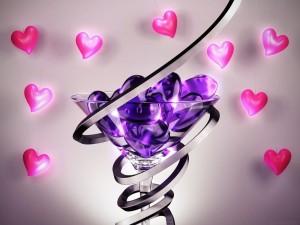Corazones color púrpura y rosados