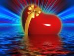 Radiante corazón en el agua