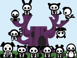 Esqueletos de varios animales con corazones