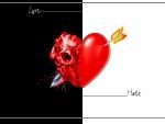 Un corazón atravesado por una flecha en fondo blanco y negro