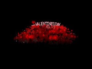 Feliz Día de San Valentín sobre una montaña de corazones