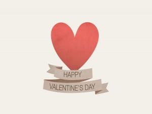 Corazón rojo y Feliz Día de San valentín