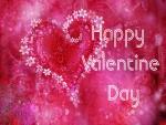 Feliz Día de San Valentín en un fondo con corazones rosas