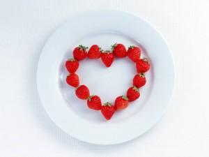 Fresas formando un corazón