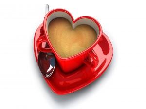 Taza de corazón para desayunar el Día de San Valentín