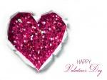 Feliz Día de San Valentín junto a un corazón de lentejuelas rosas