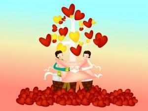 Pareja festejando el Día del Amor
