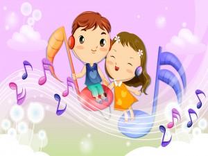Feliz pareja escuchando música