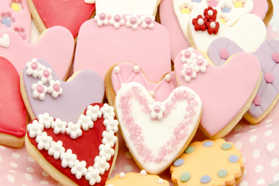 Galletas decoradas en forma de corazón