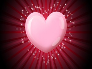 Centelleante corazón rosado